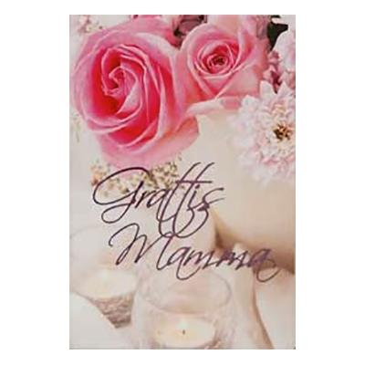 Dubellkort Mini Grattis Mamma Rosor och Ljus