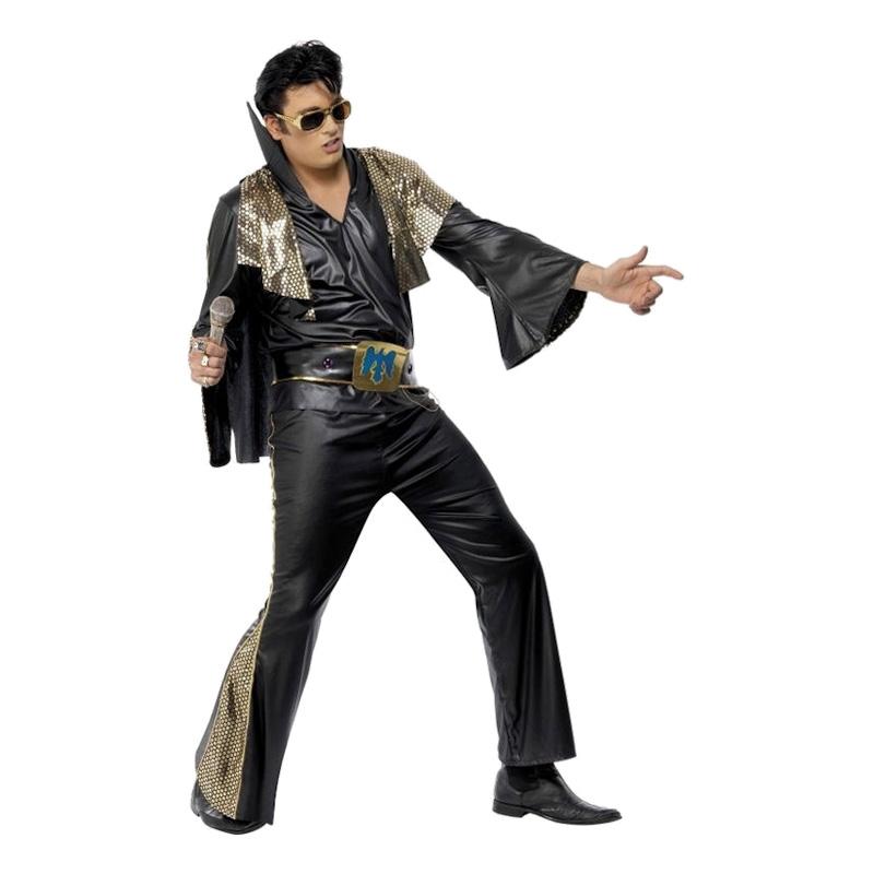 Elvis Svart Maskeraddräkt - One size