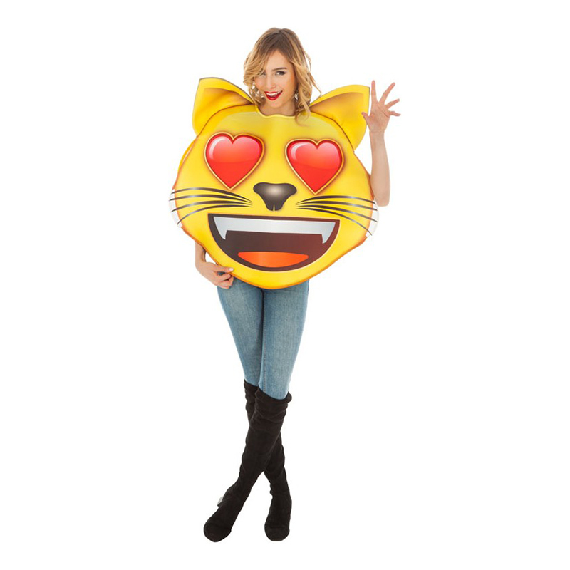 Emoji Katt med Hjärtan Maskeraddräkt - One size