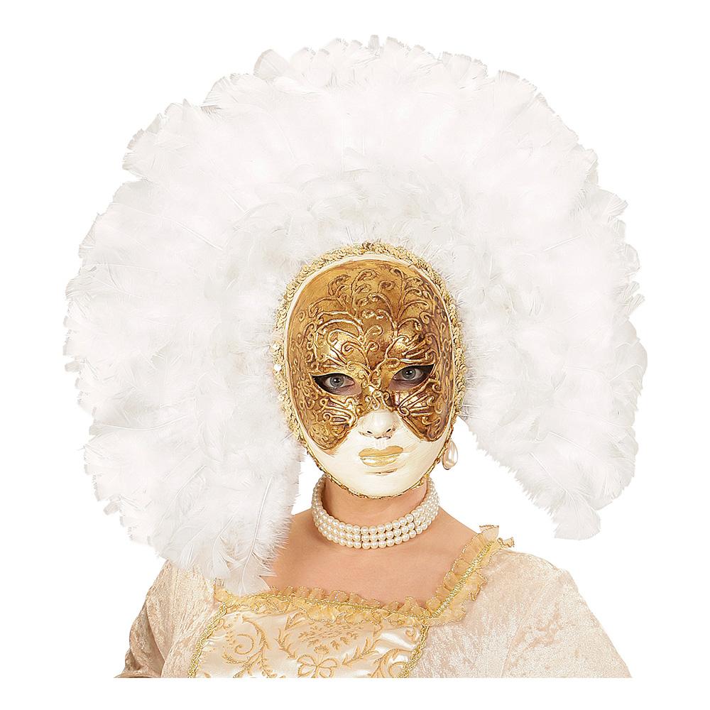 Fidelio Mask med Vita Fjädrar - One size