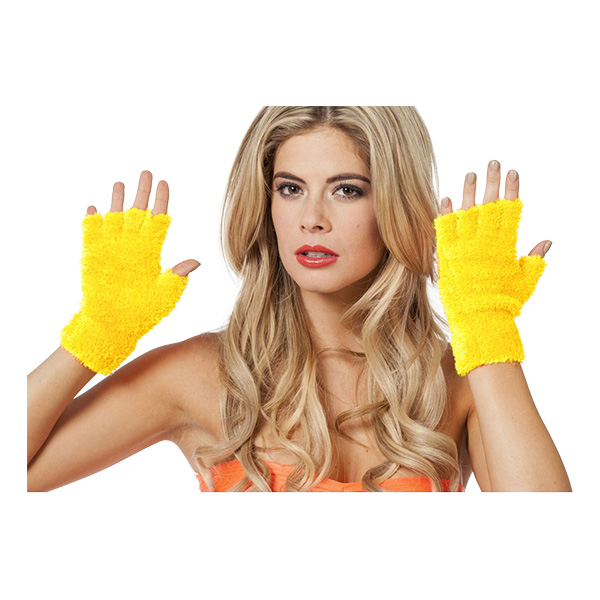 Fingerlösa Fluffiga Handskar Neongula - One size
