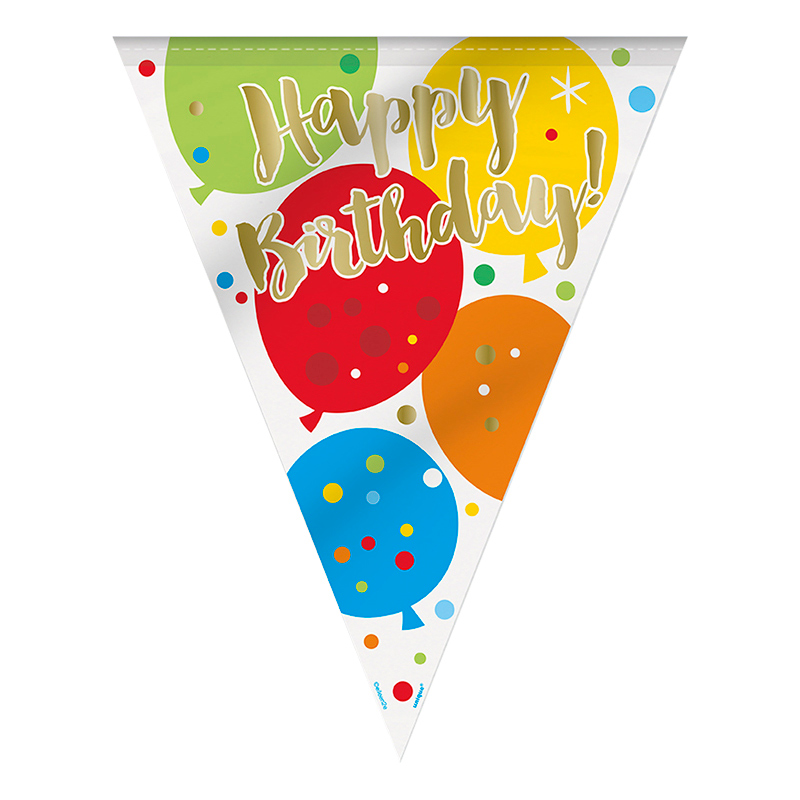 Flaggirlang Guld Happy Birthday