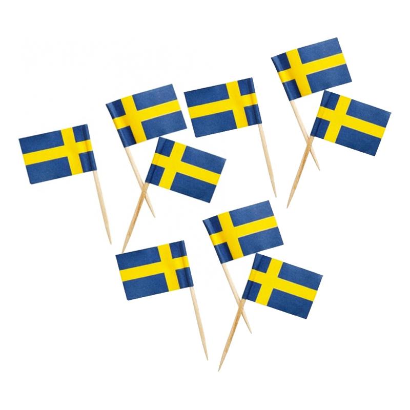 Partypicks Sverigeflagga - 50-pack