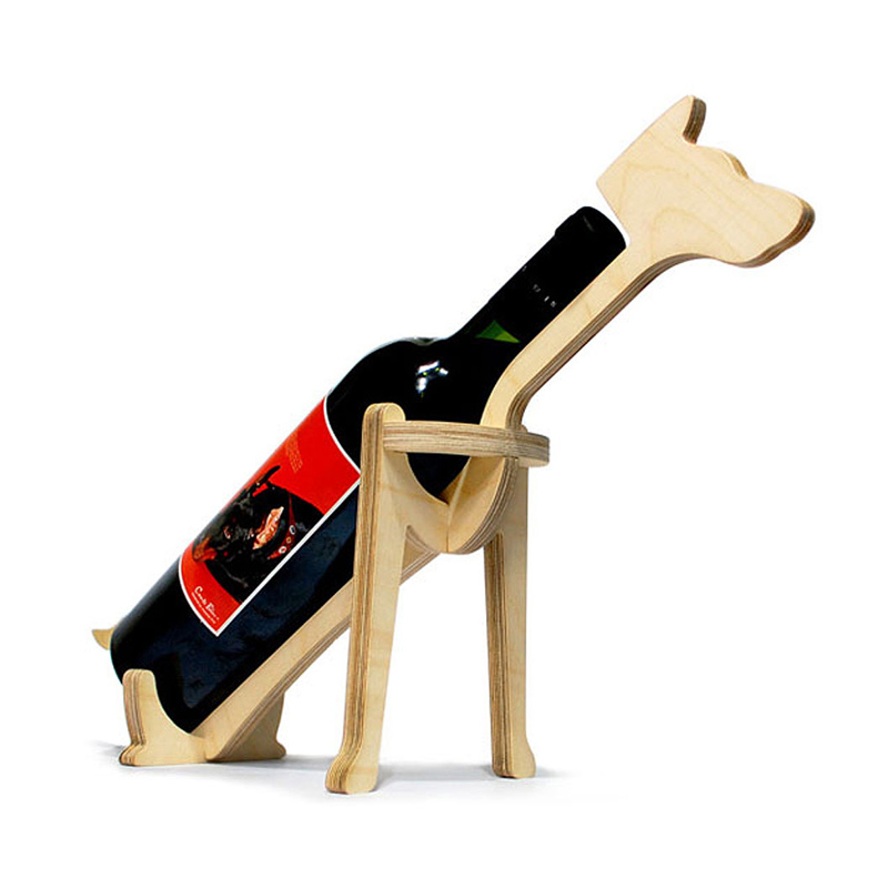 Flaskhållare i Trä - Hund