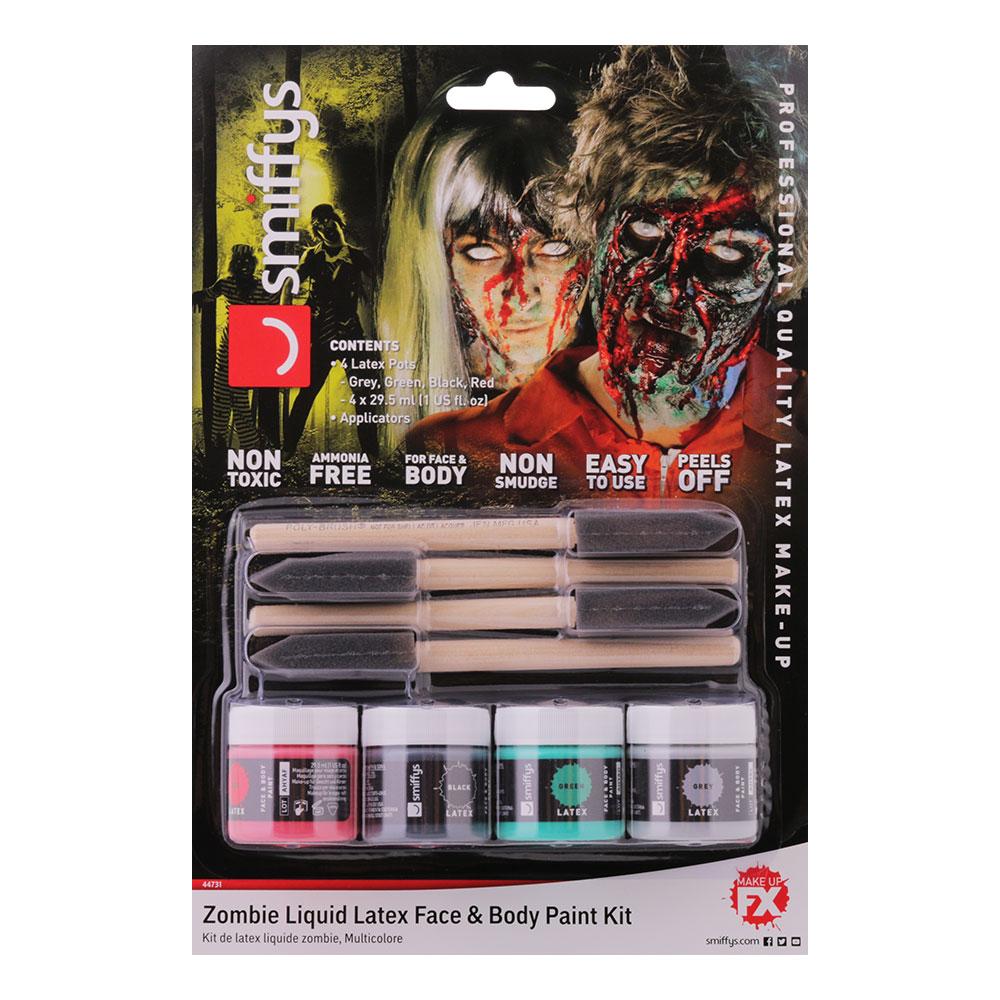 Flytande Latex Ansikts- & Kroppsfärg Kit Zombie