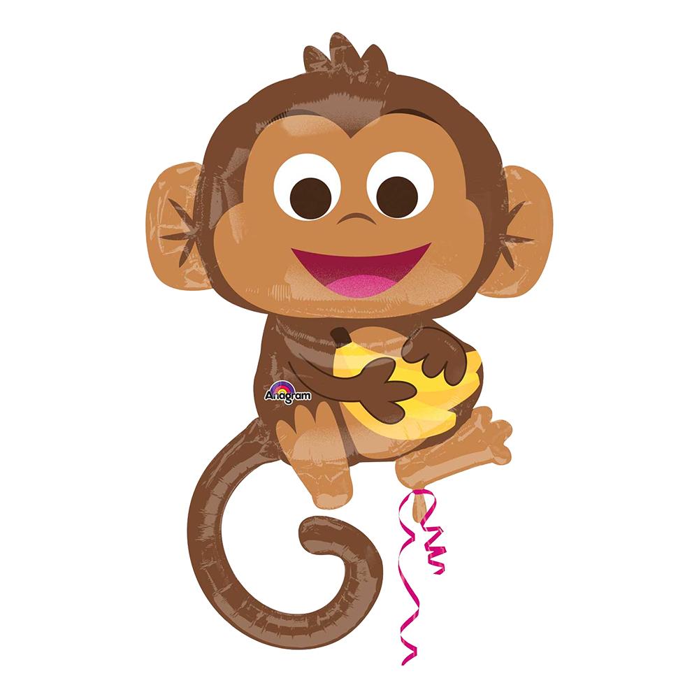Folieballong Apa med Bananer