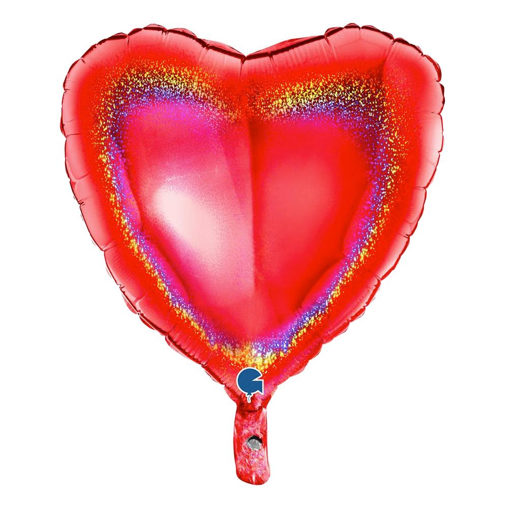 Folieballong Hjärta Glitter Röd - 1-pack