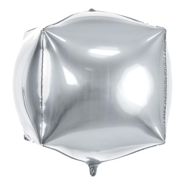 Folieballong Kub Silverfärgad