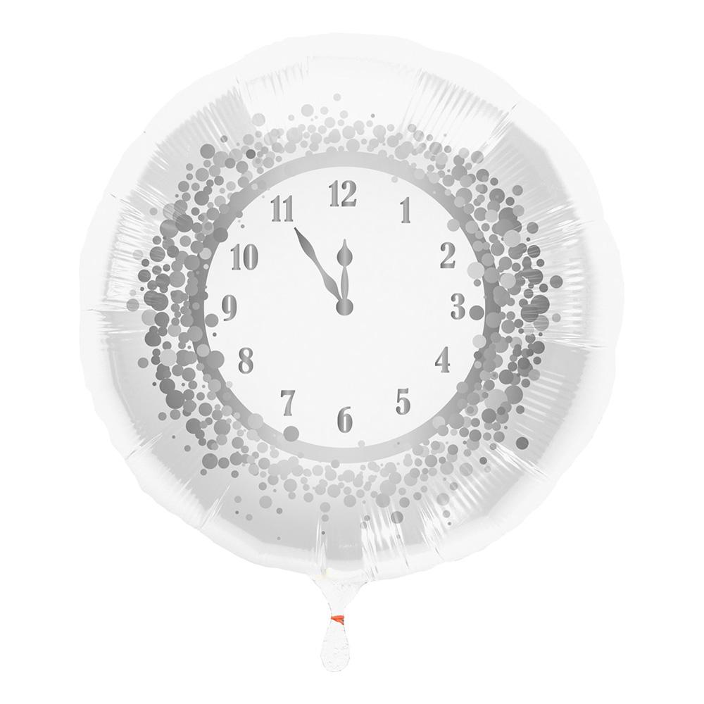 Folieballong Nyårsklocka Vit/Silver