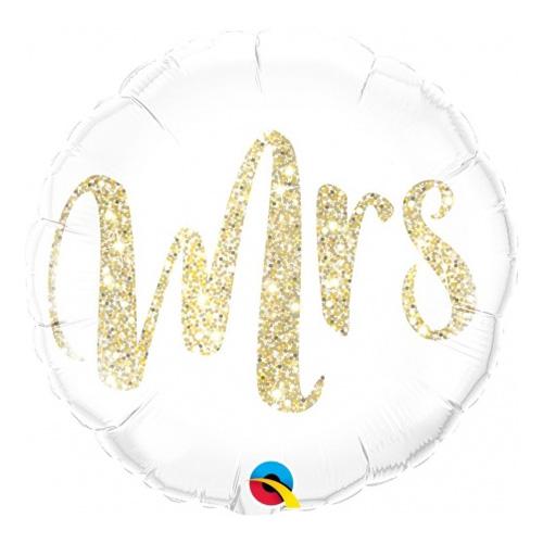 Folieballong Rund Mrs Glitter Guld