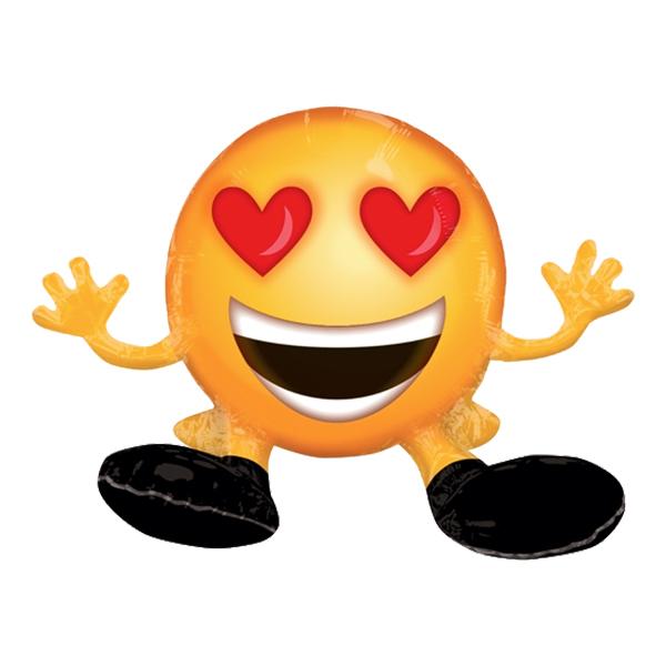 Folieballong Sittande Emoji Heart Eyes - 1-pack