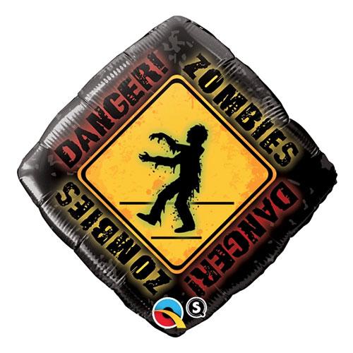 Folieballong Varning för Zombies