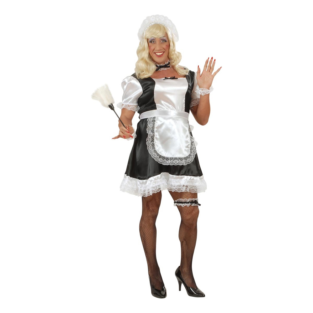 French Maid Dragqueen Maskeraddräkt - One size