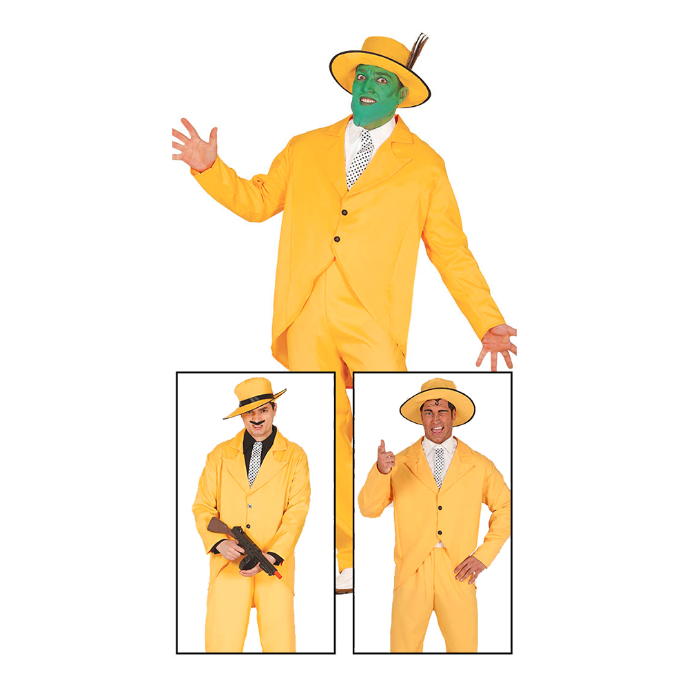 Gangster Maskeraddräkt Gul - Medium