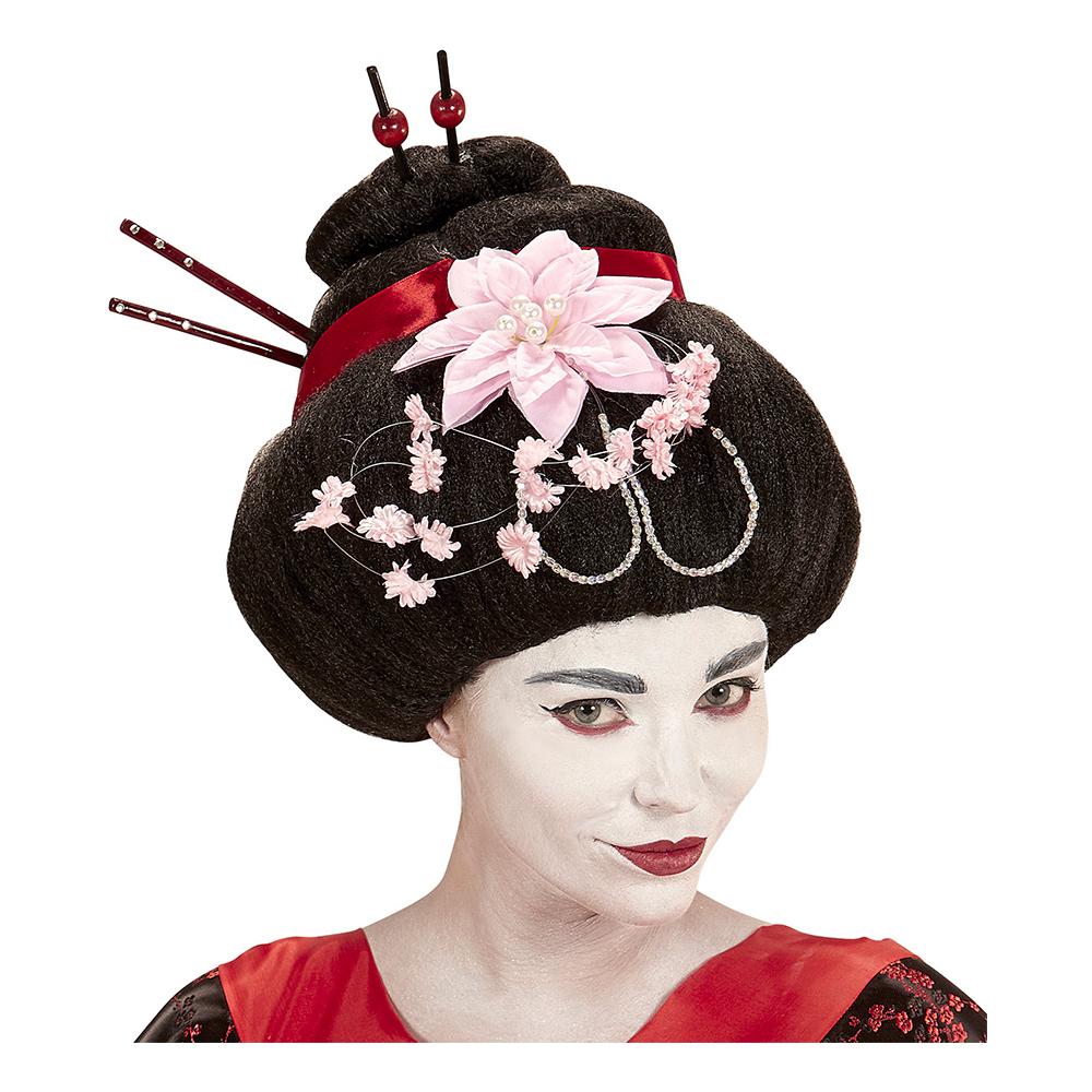 Geisha Svart Peruk med Blommor - One size