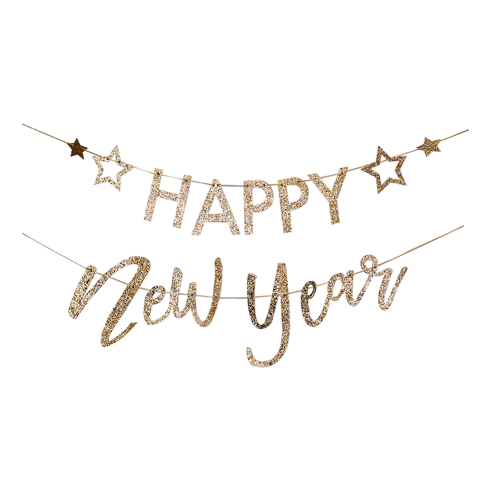 Girlang Happy New Year Guld Glitter