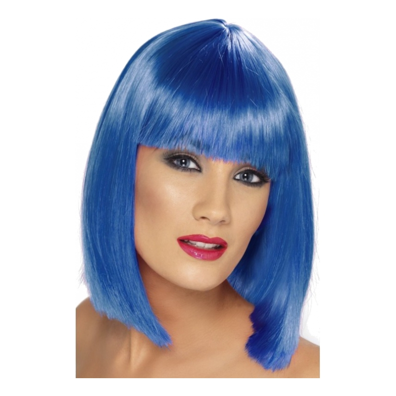 Glam Neonblå Peruk - One size