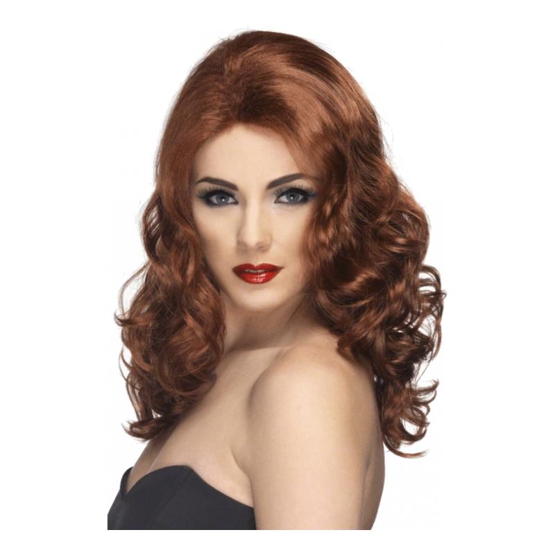 Glamour Rödbrun Peruk - One size