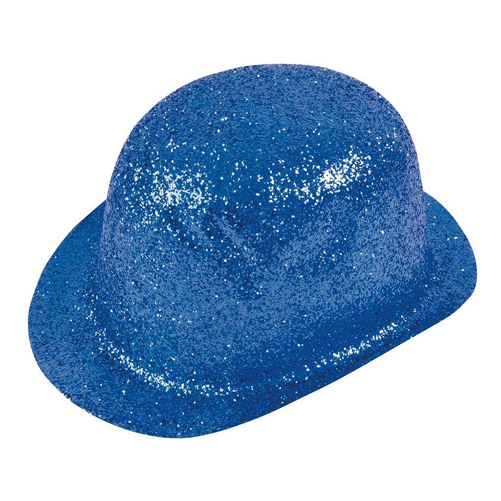 Glittrande Bowlerhatt Blå - One size