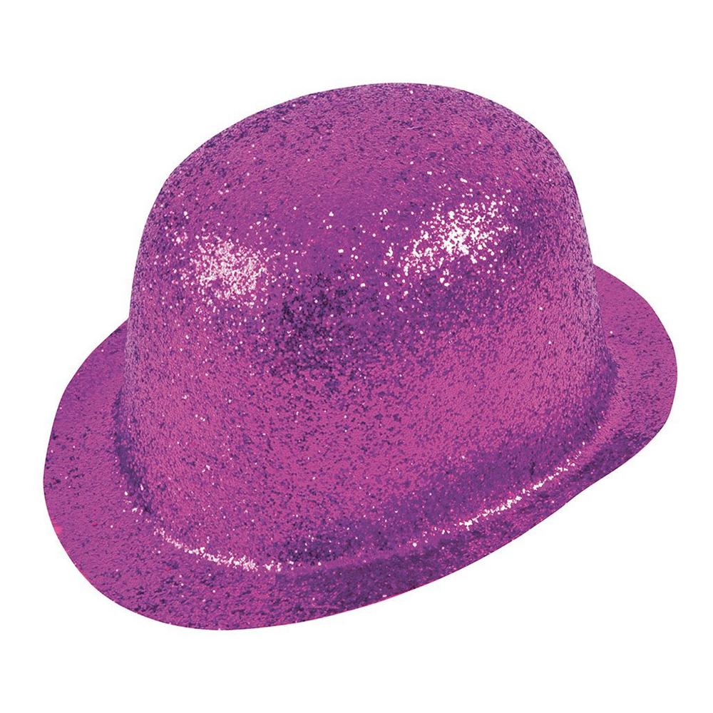 Glittrande Bowlerhatt Cerise - One size