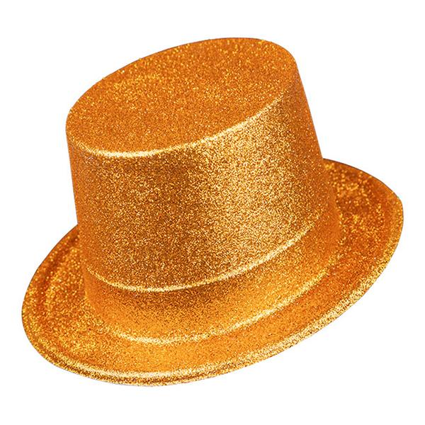 Glittrig Höghatt Guld i Plast - One size
