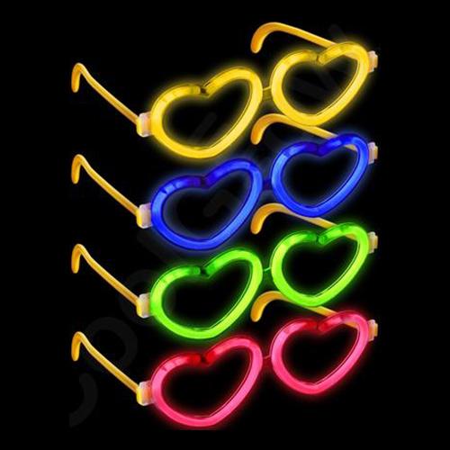 Glowsticksglasögon Hjärtan - Blå