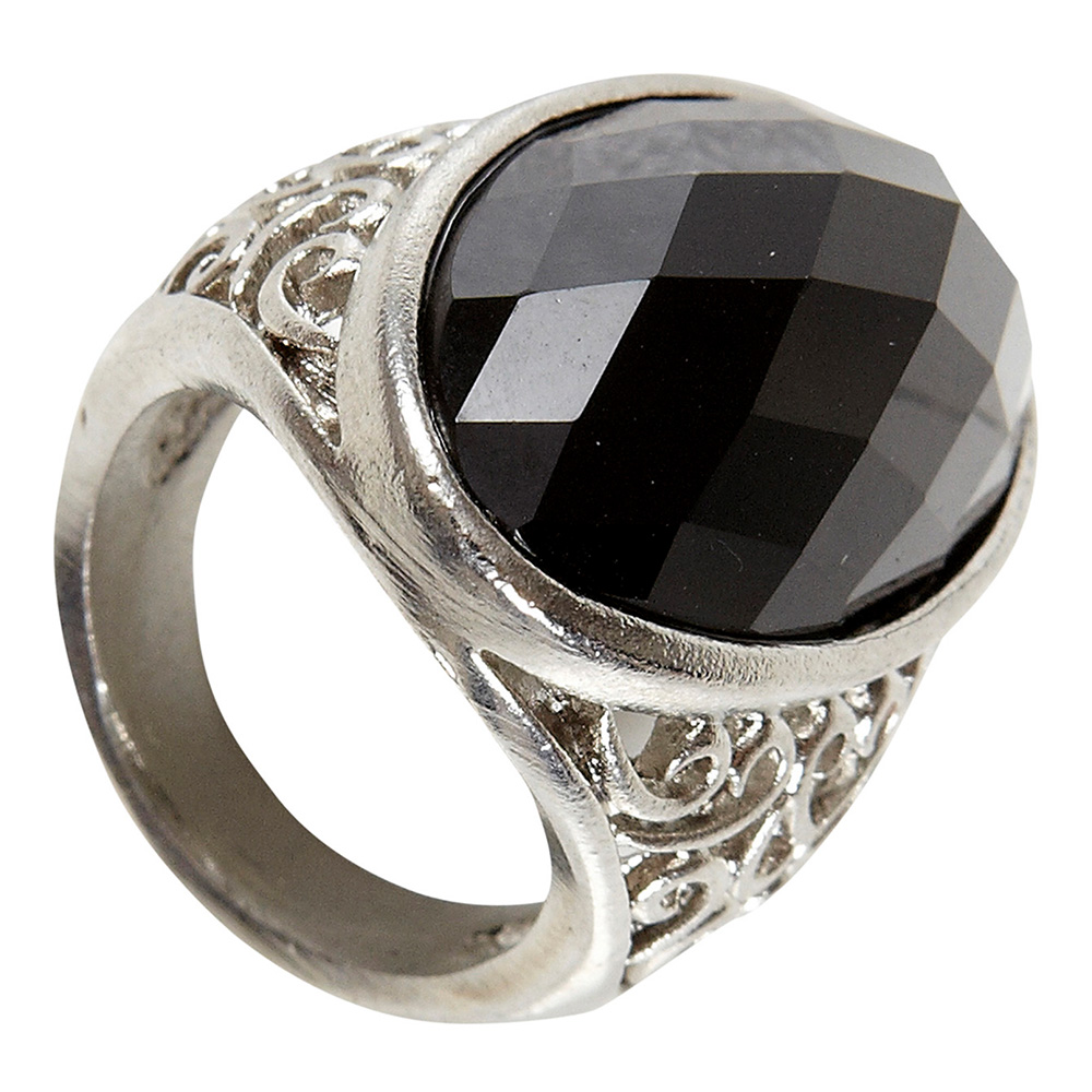 Gotisk Ring Svart Sten - One size