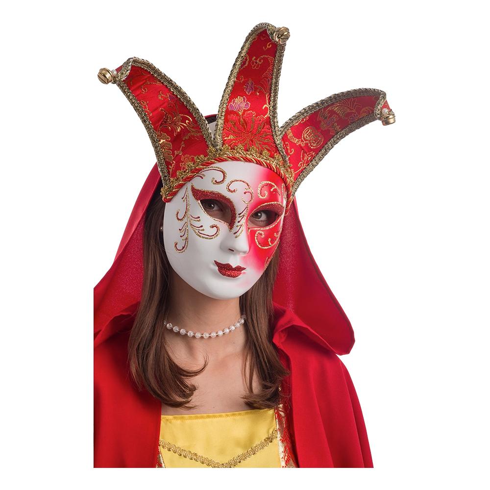 Gycklare Maskeradbal Röd Mask - One size