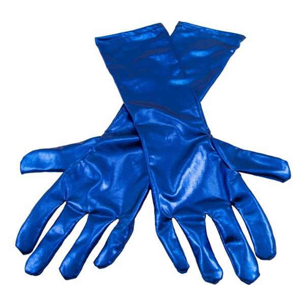 Långa Handskar Metallicblå - One size