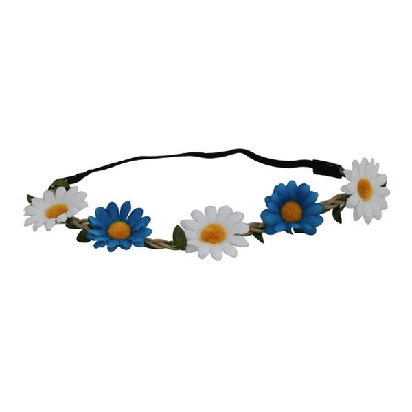 Hårband med Blommor Vit/Blå