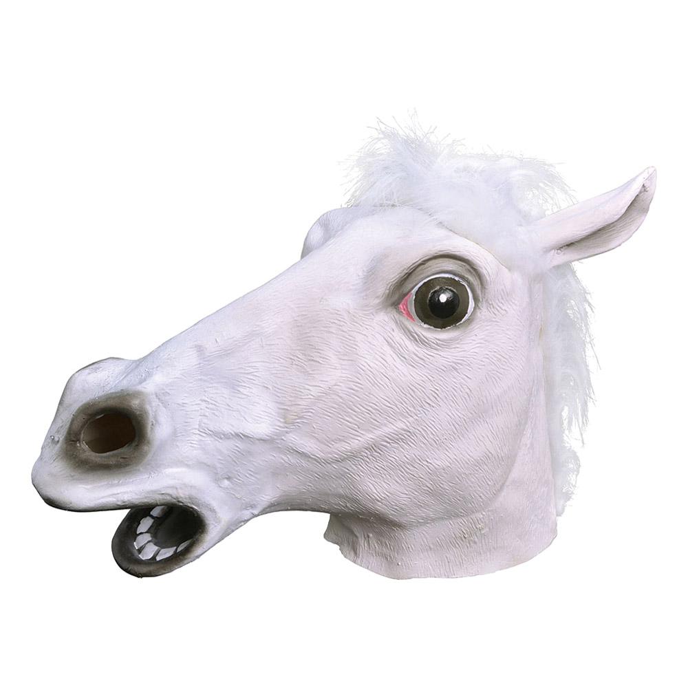 Vit Hästmask i Gummi - One size