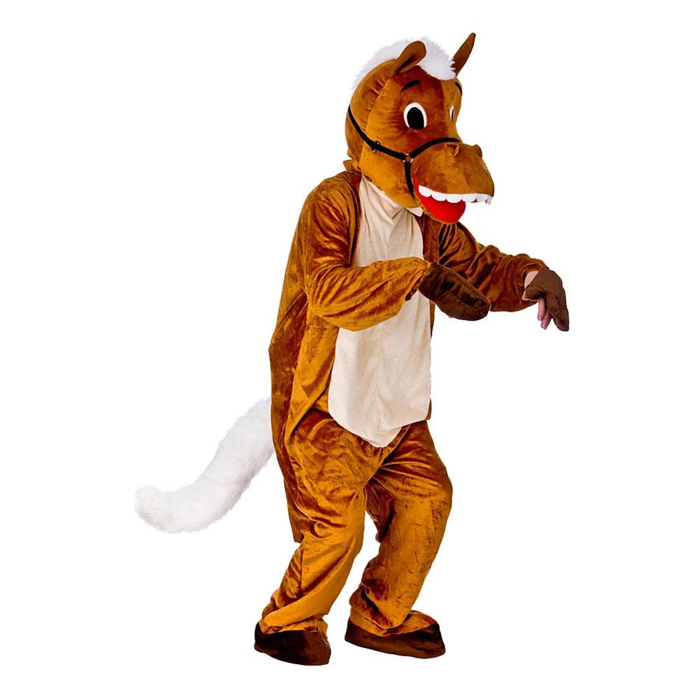 Hästmaskot med Vit Man Maskeraddräkt - One size