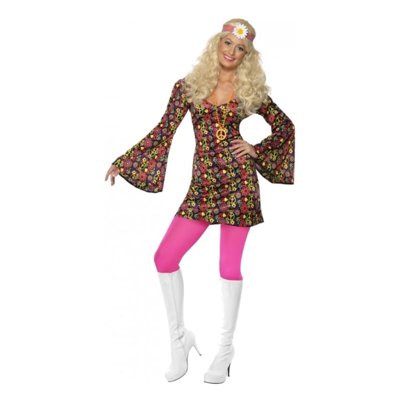 70-tals Hippieklänning Maskeraddräkt - Small