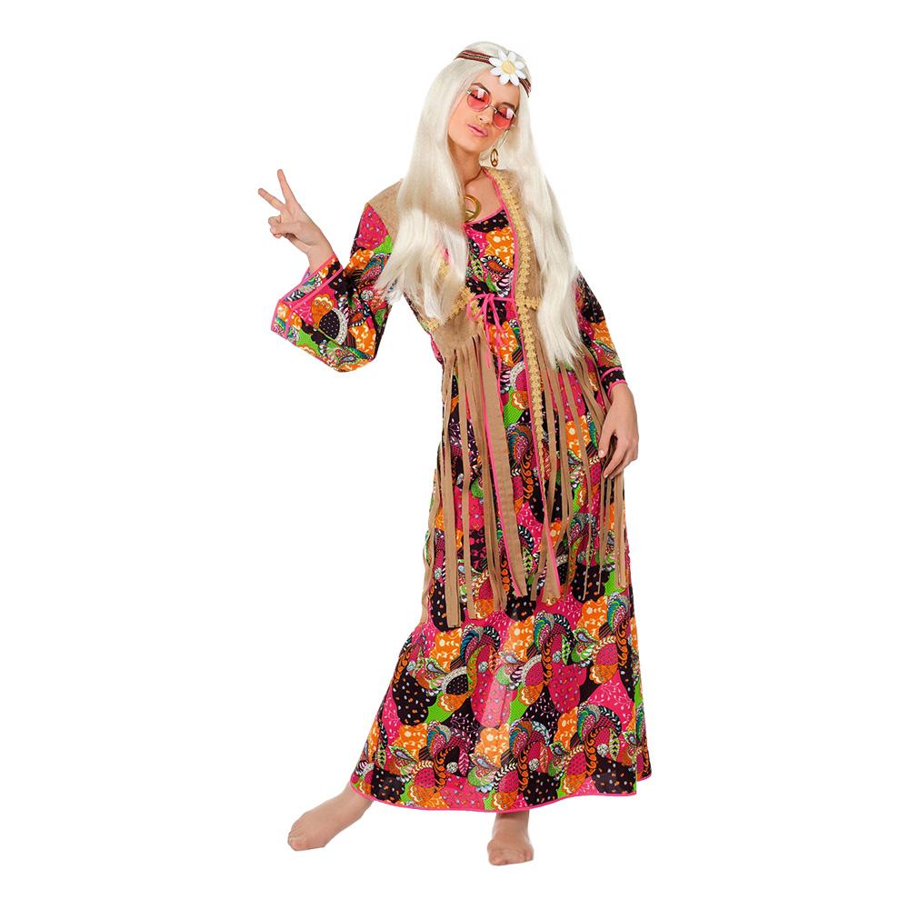 Hippie Långklänning Maskeraddräkt - Small