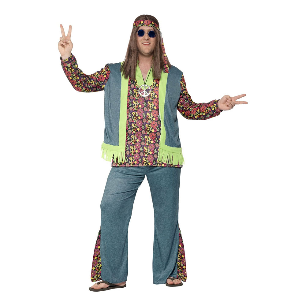 Hippie Man Plus-size Maskeraddräkt - Plus size