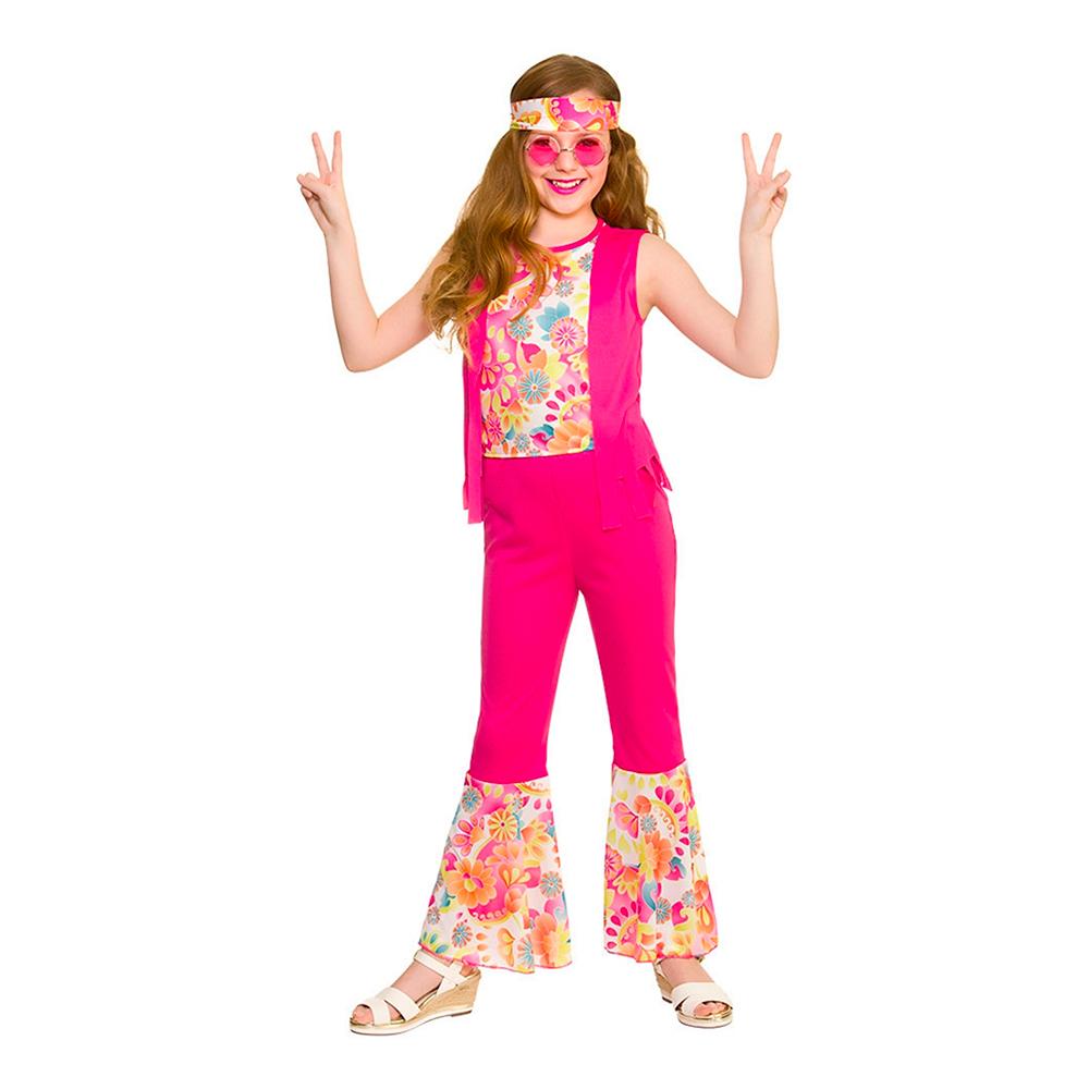 Hippieflicka Barn Rosa Maskeraddräkt - Large