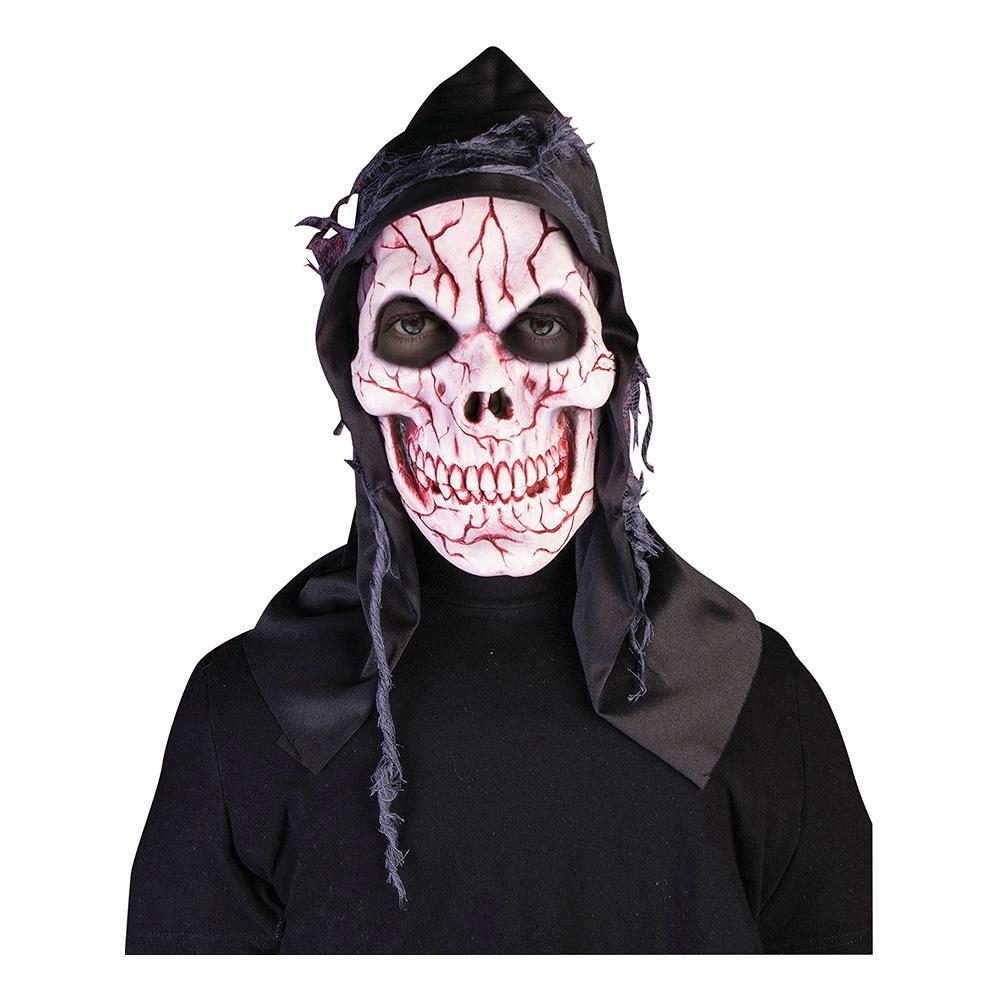 Dödskalle med Huva Latexmask - One size