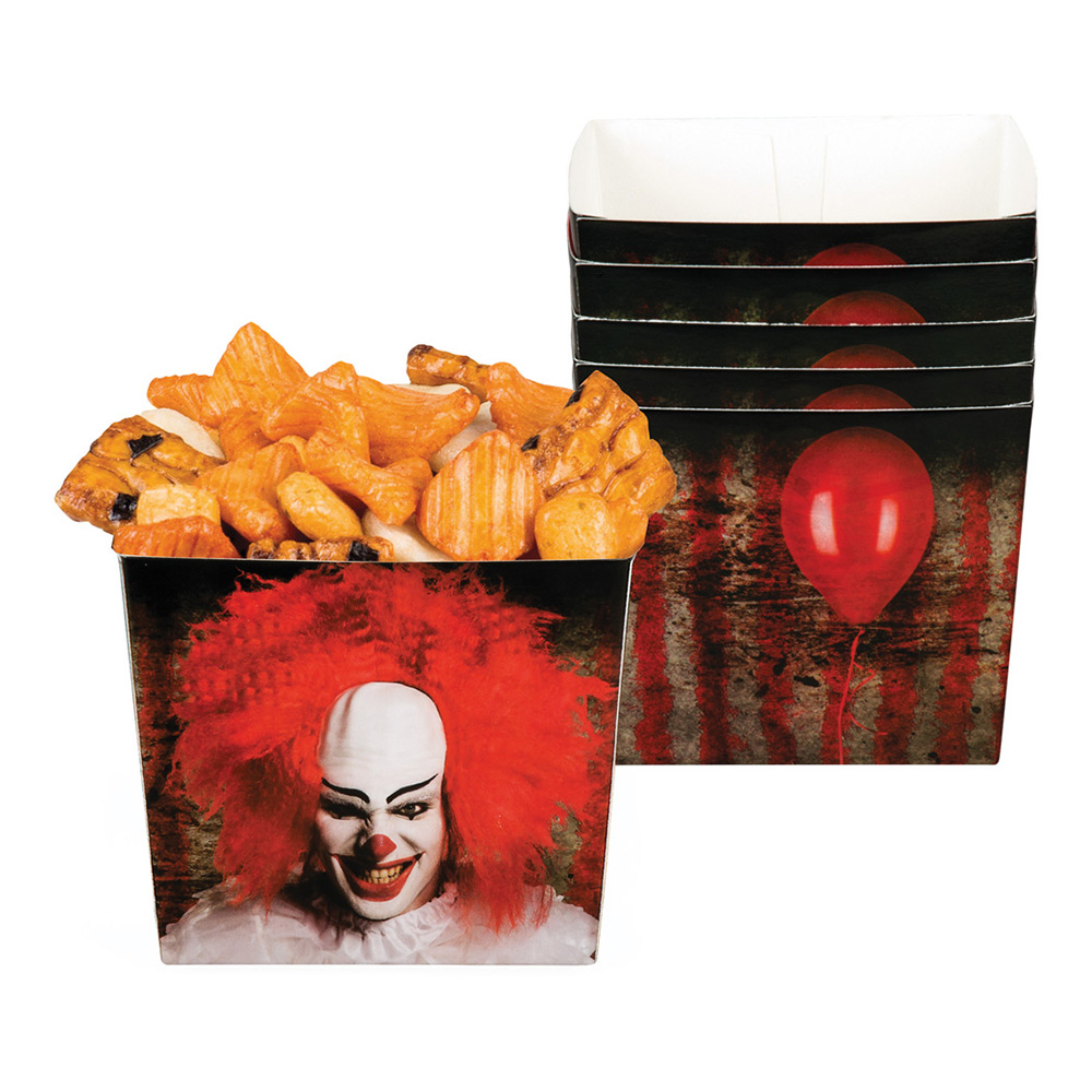 Horror Clown Popcornbägare - 6-pack