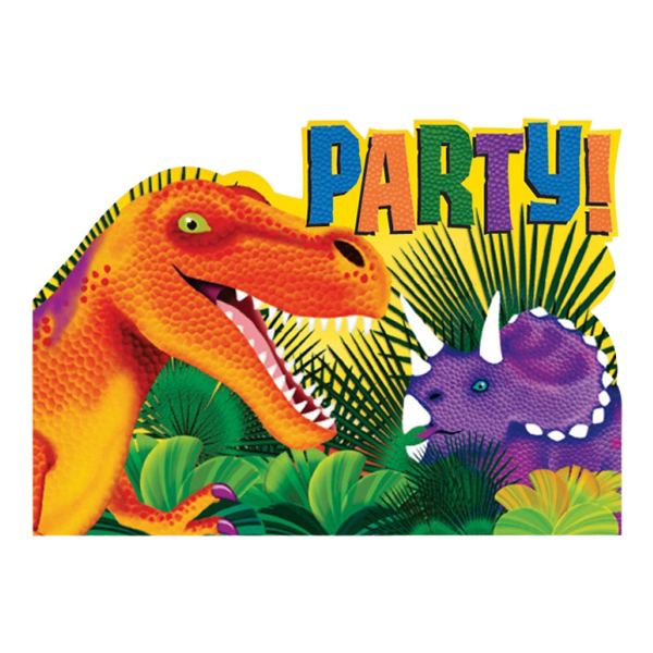 Inbjudningskort Dinosaurier - 8-pack