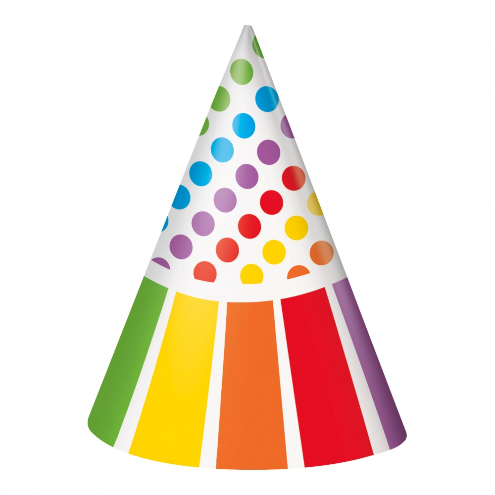 Partyhattar Rainbow - 8-pack