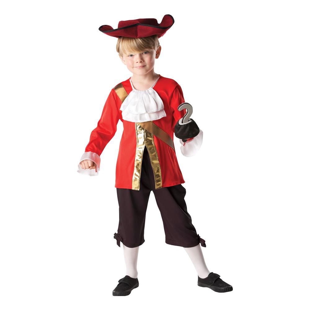 Kapten Krok Barn Maskeraddräkt Ljusröd - Medium