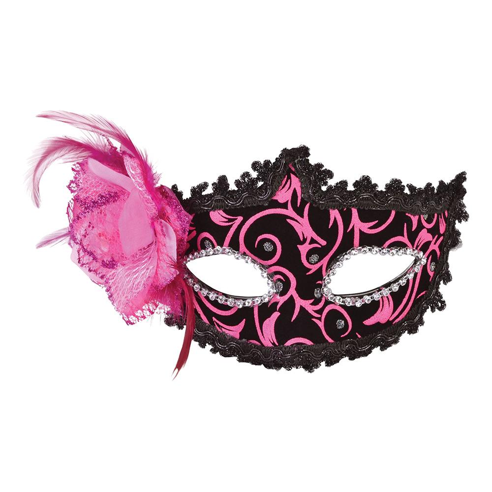 Karneval Ögonmask Rosa/Svart - One size