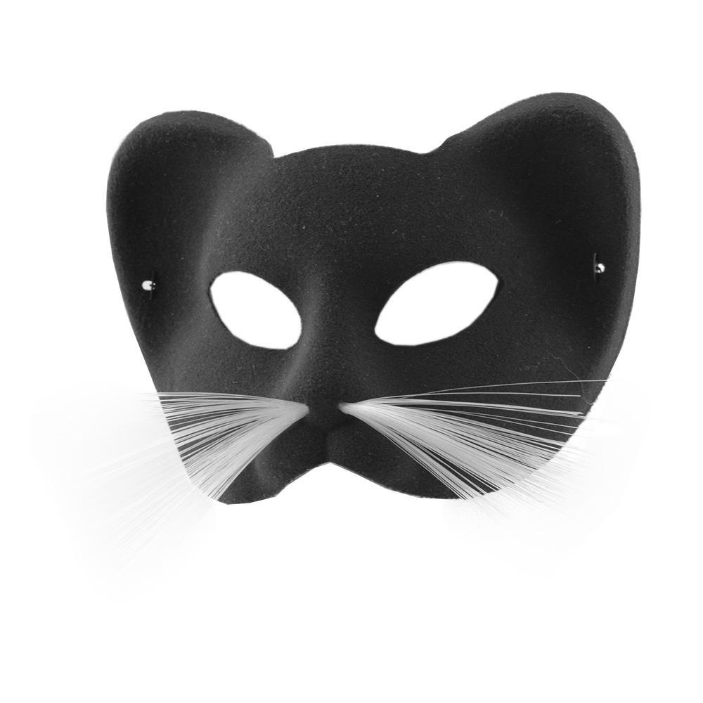 Katt Sammet Halvmask - Svart