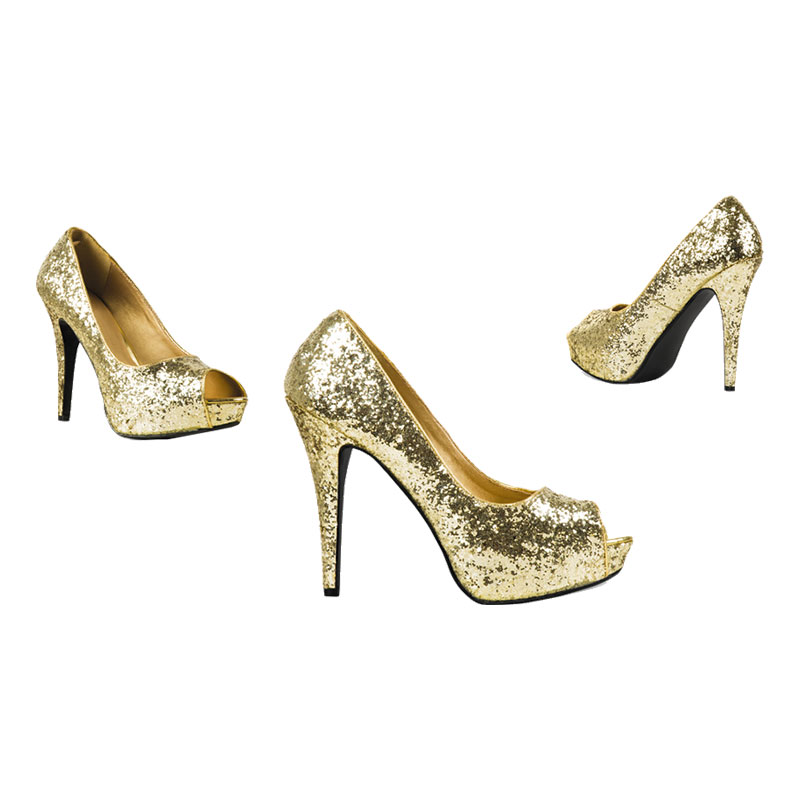 Pumps Glitter Guld - 37
