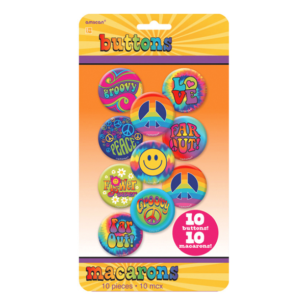 Knappar Hippie - 10-pack