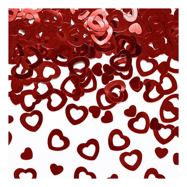 Konfetti Hjärtan Metallic Röda - 15 gram