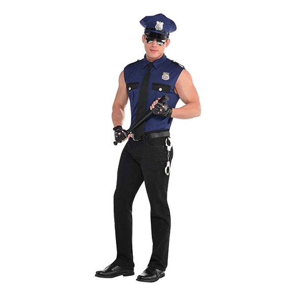 Kortärmad Polis Maskeraddräkt - Medium