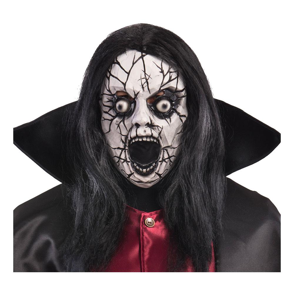 Krackelerad Zombie Mask med Hår - One size