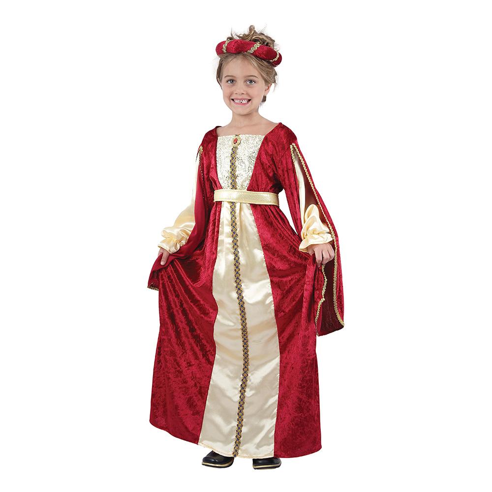 Kunglig Röd Prinsessa Barn Maskeraddräkt - Small