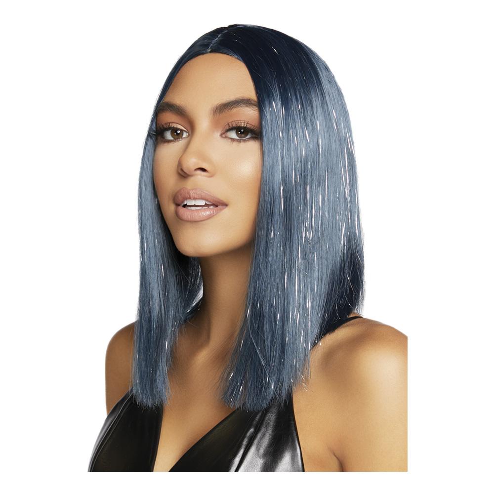 Lång Blå Deluxe Peruk med Glitter - One size